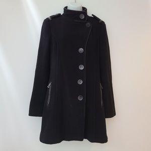 Rudsak Military Style Wool and Leather Black Coat M